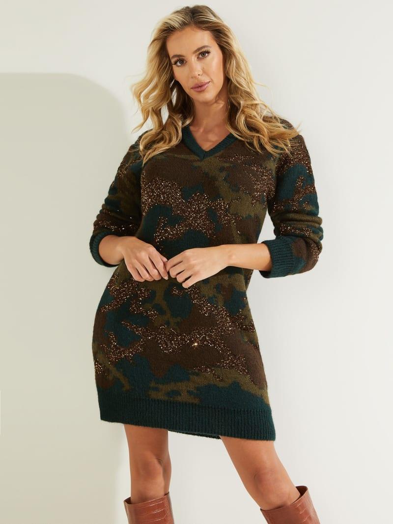 Deana Camo Sweater Dress