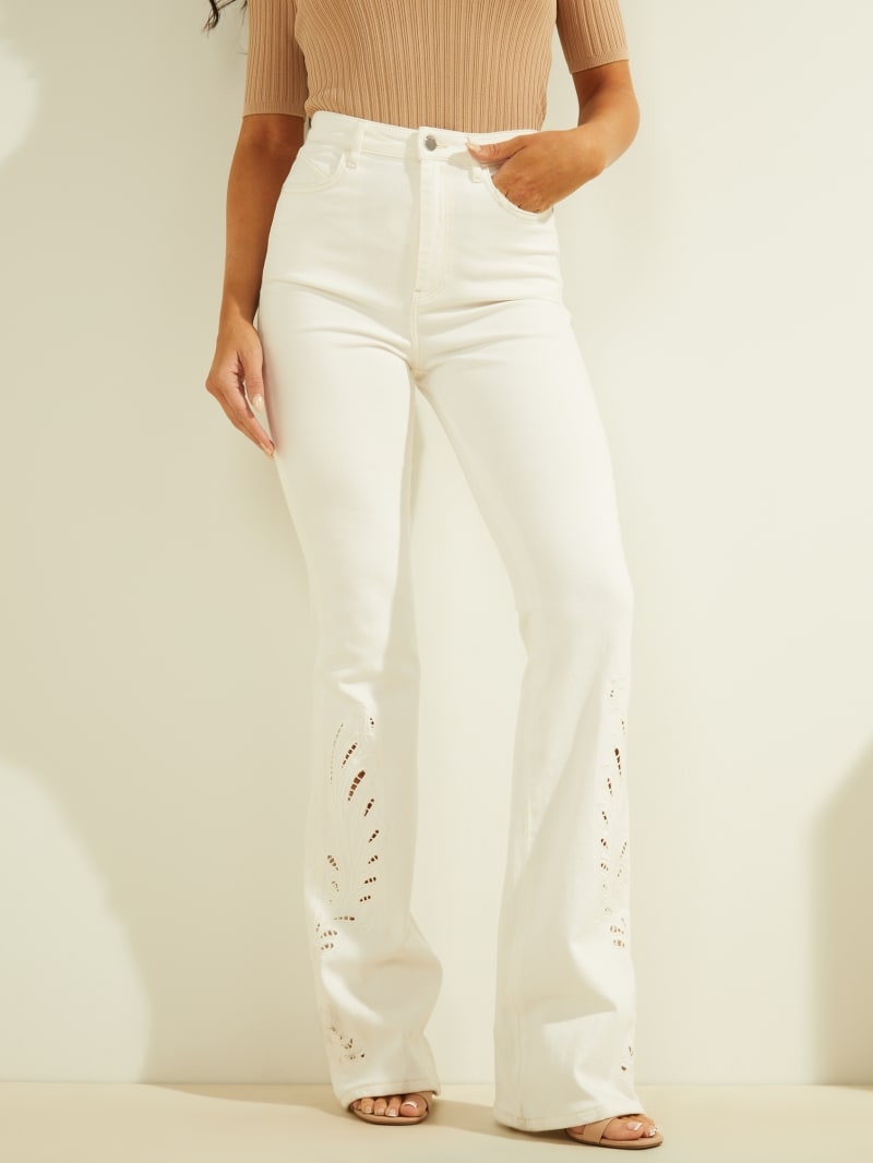 High-Rise Embroidered Flares
