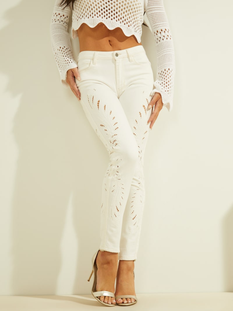 Sexy Curve Embroidered Mid-Rise Jeans