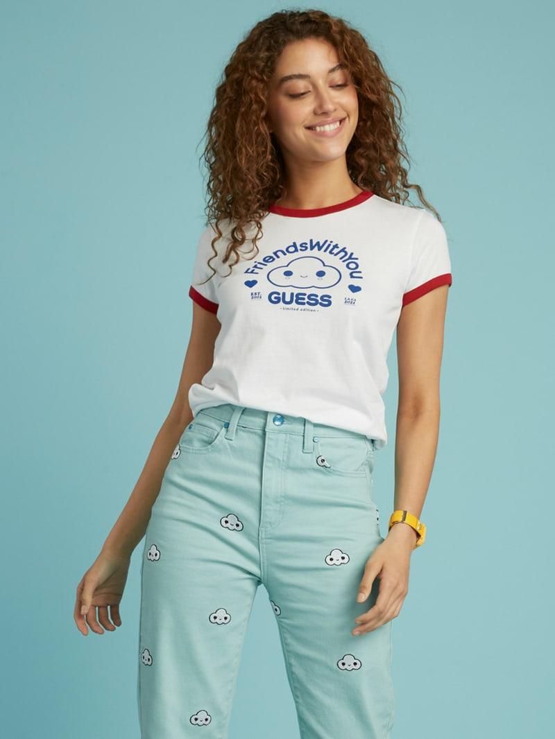 T-shirt à col contrastant GUESS x FriendsWithYou