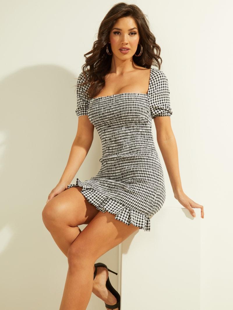 Aida Gingham Smocked Mini Dress