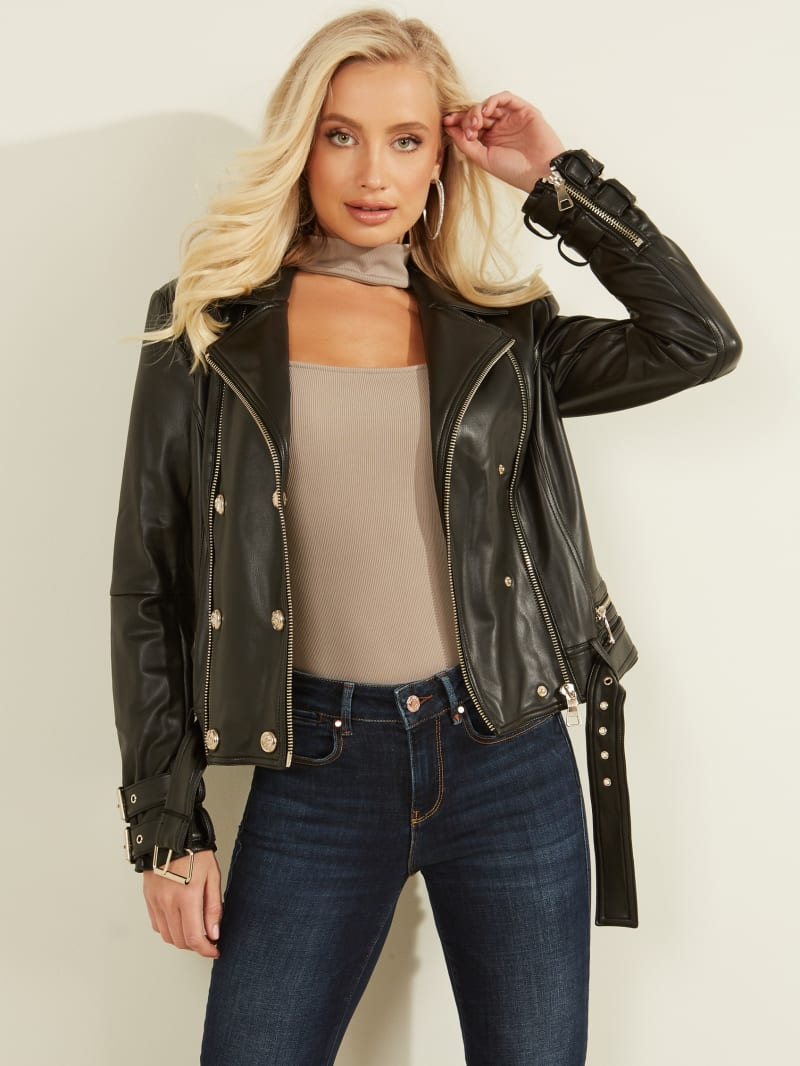 Olivia Faux-Leather Moto Jacket