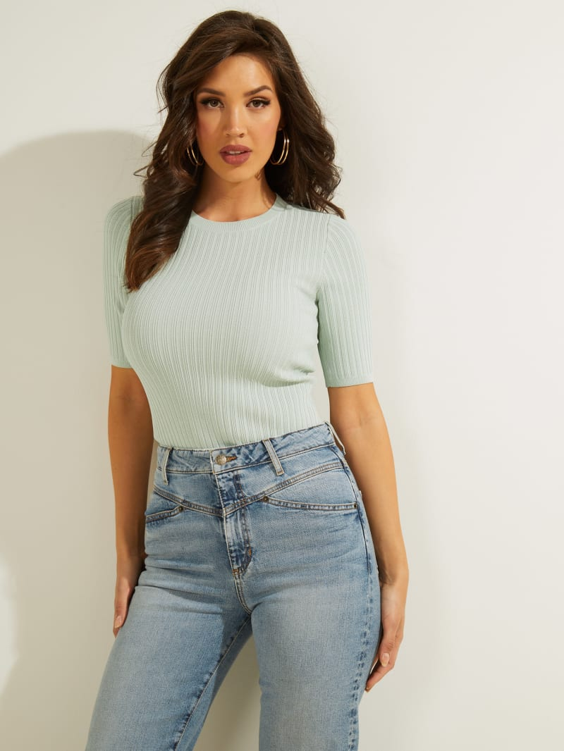 Naomi Ribbed Half-Sleeve Sweater