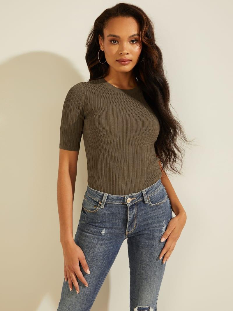 Naomi Ribbed Half-Sleeve Sweater