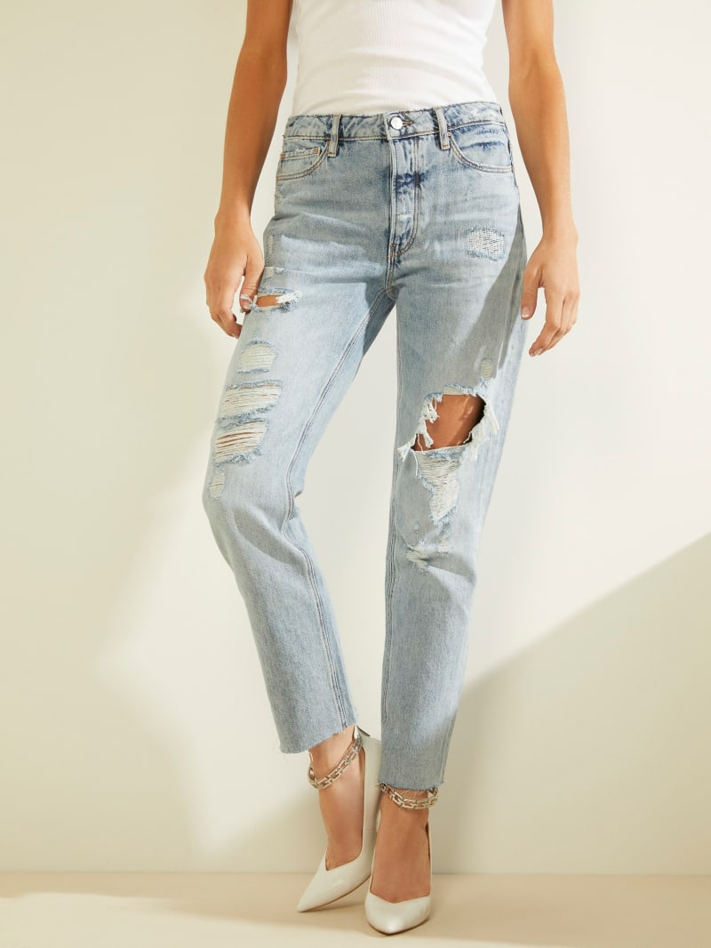 Girly High-Rise Distressed Jeans