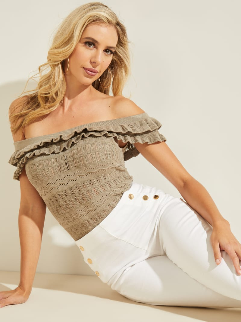 Nola Off-Shoulder Pointelle Sweater