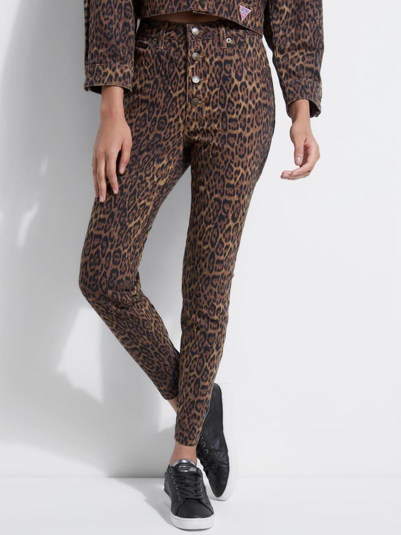GUESS Originals Leopard-Print Button-Fly Jeans