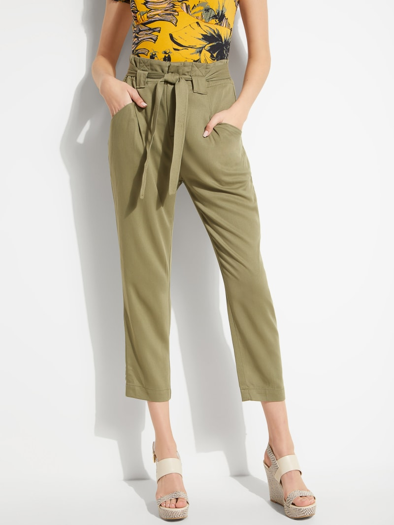 Knoxlee Tie-Front Paperbag Waist Pants