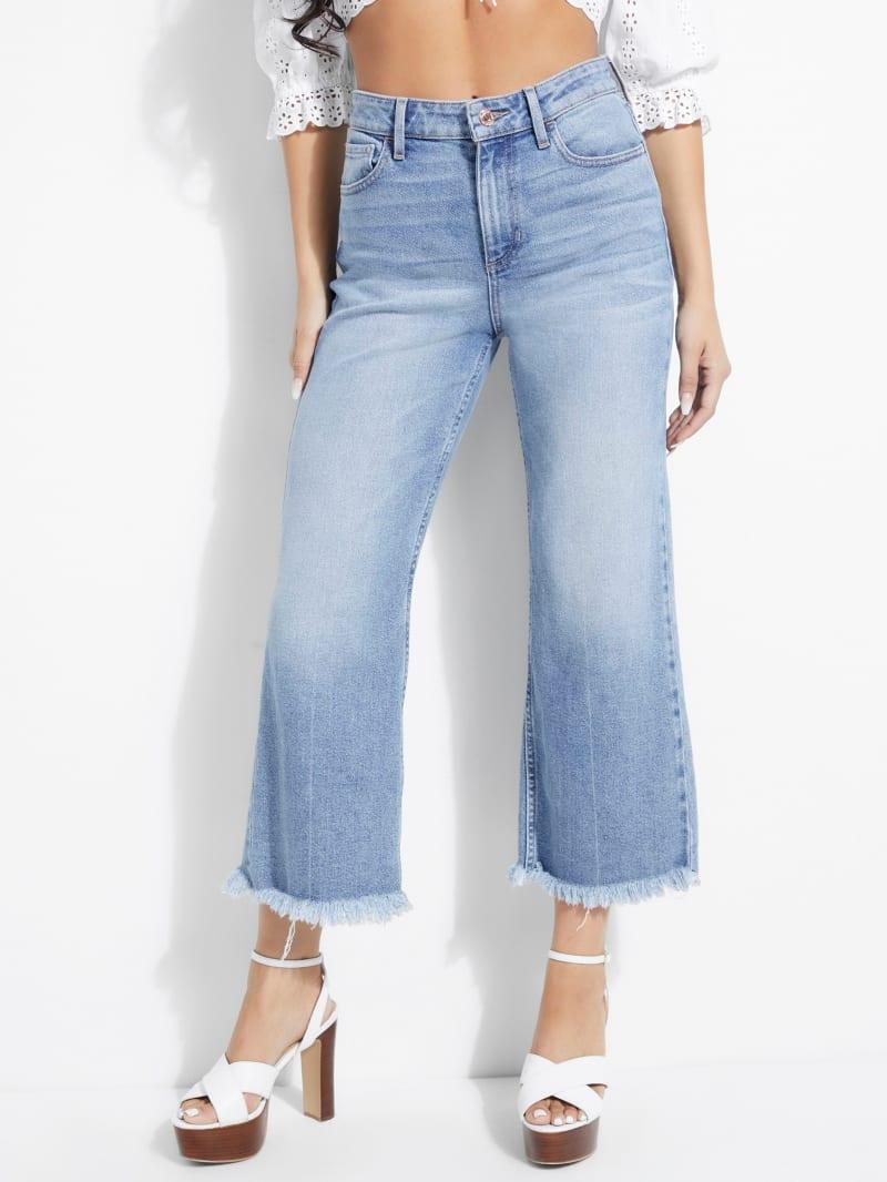 Frayed Crop Wide-Leg Jeans