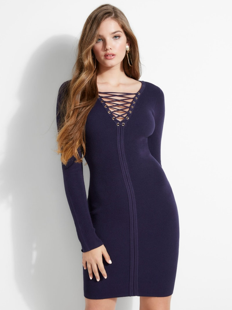 Selby Lace-Up Sweater Dress