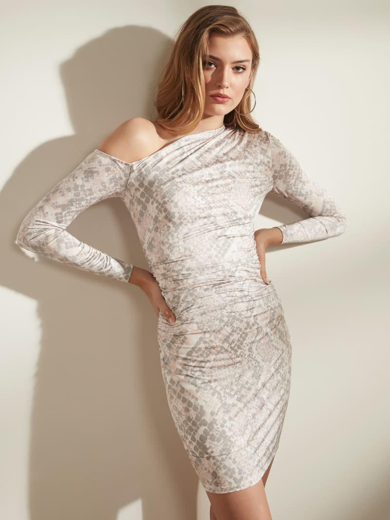 Marian One-Shoulder Snake Dress
