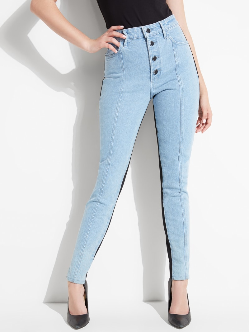 GUESS Eco Super-High Rise Panel Skinny Jeans