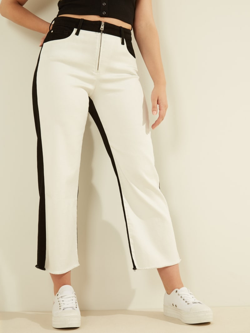 Color-Block Cropped Wide Leg Jeans