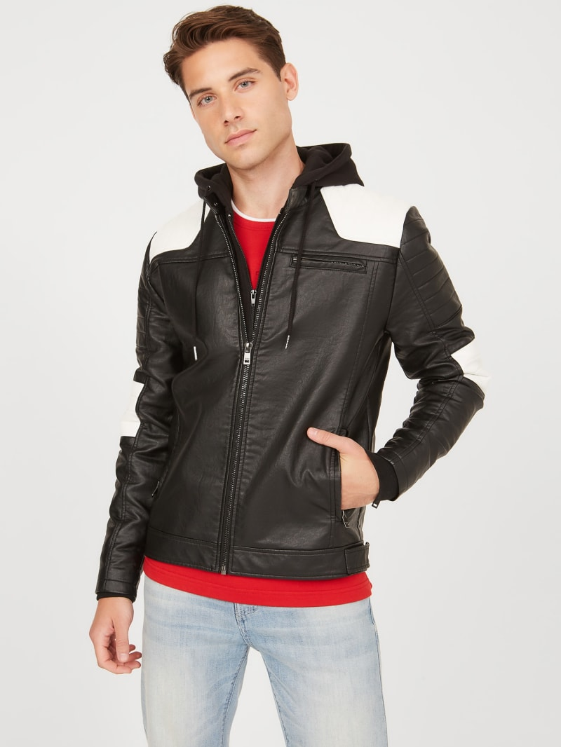 Dan Color-Block Hooded Moto Jacket