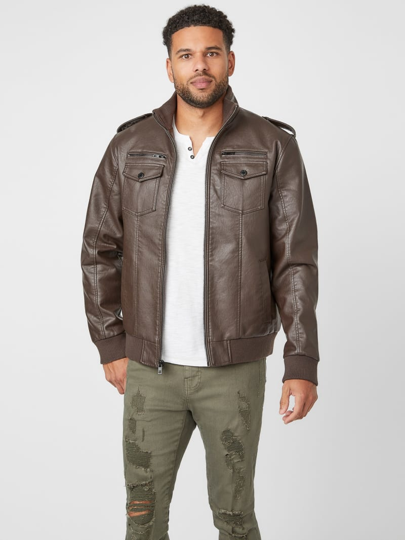 Andre Faux-Leather Trucker Jacket