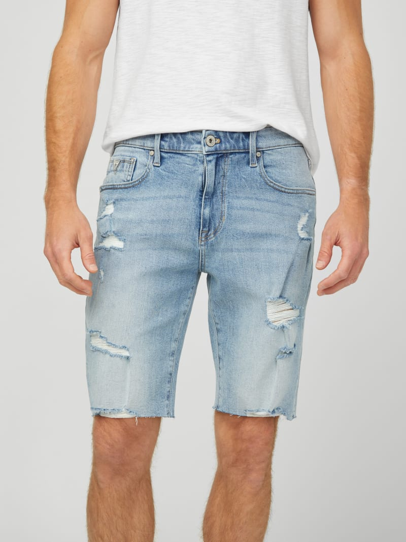 Milly Destroyed Denim Shorts