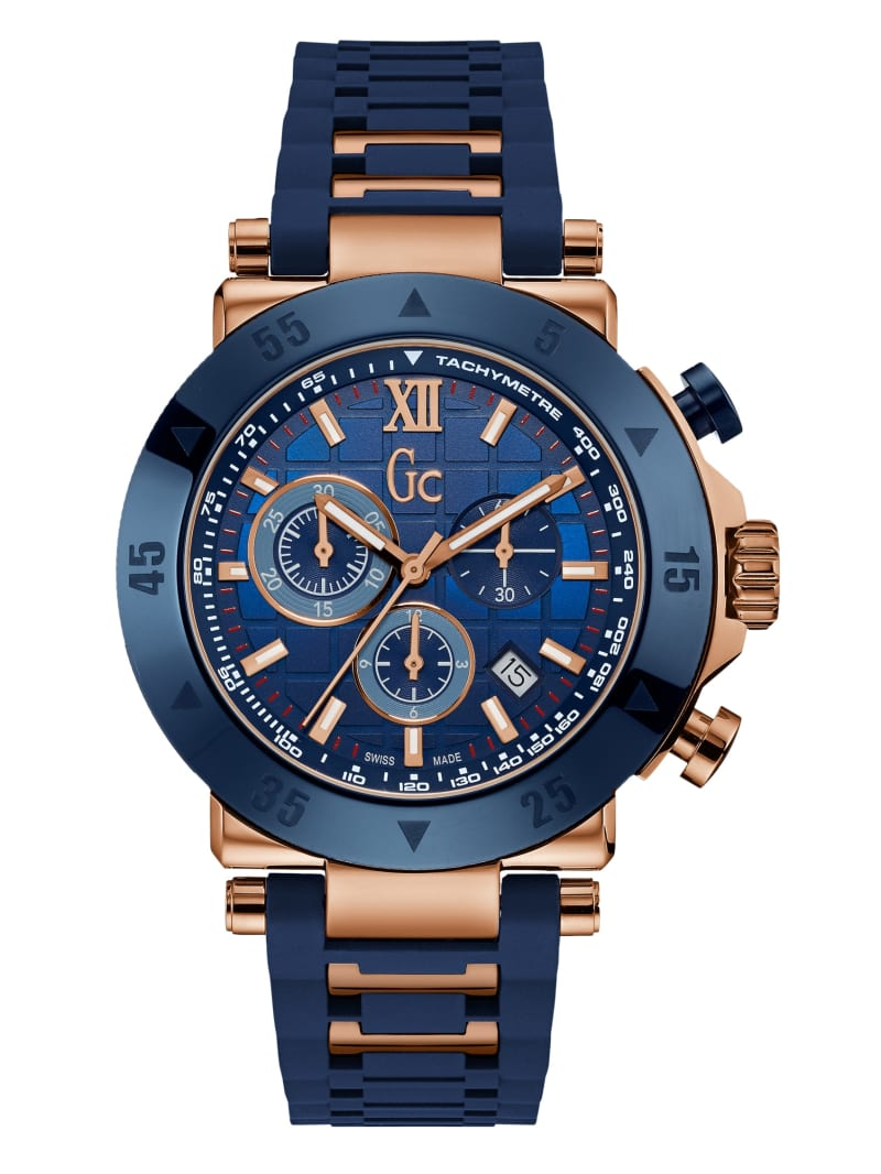 Gc Rose Gold-Tone and Navy Sport Watch