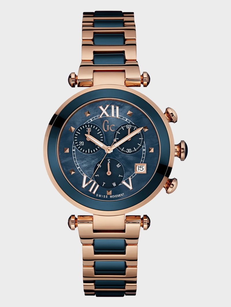 Rose Gold-Tone and Blue Watch