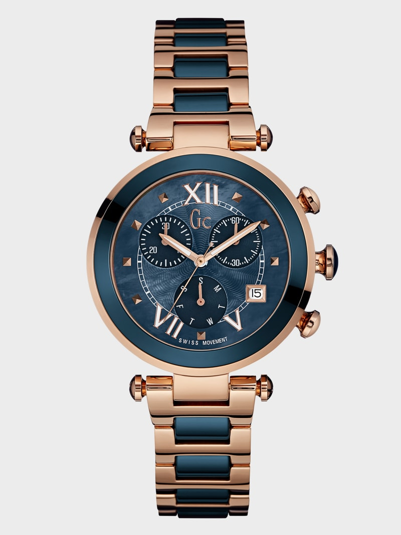 Blue and Rose Gold-Tone Watch