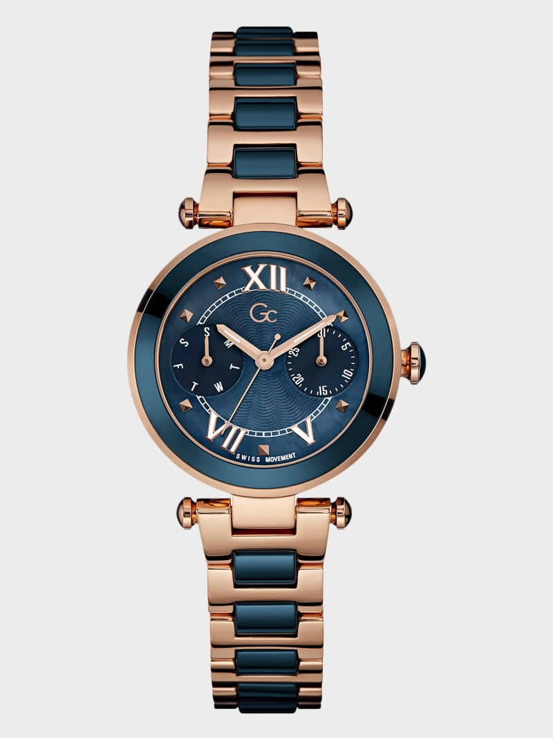 Gc Blue and Rose Gold-Tone Day/Date watch