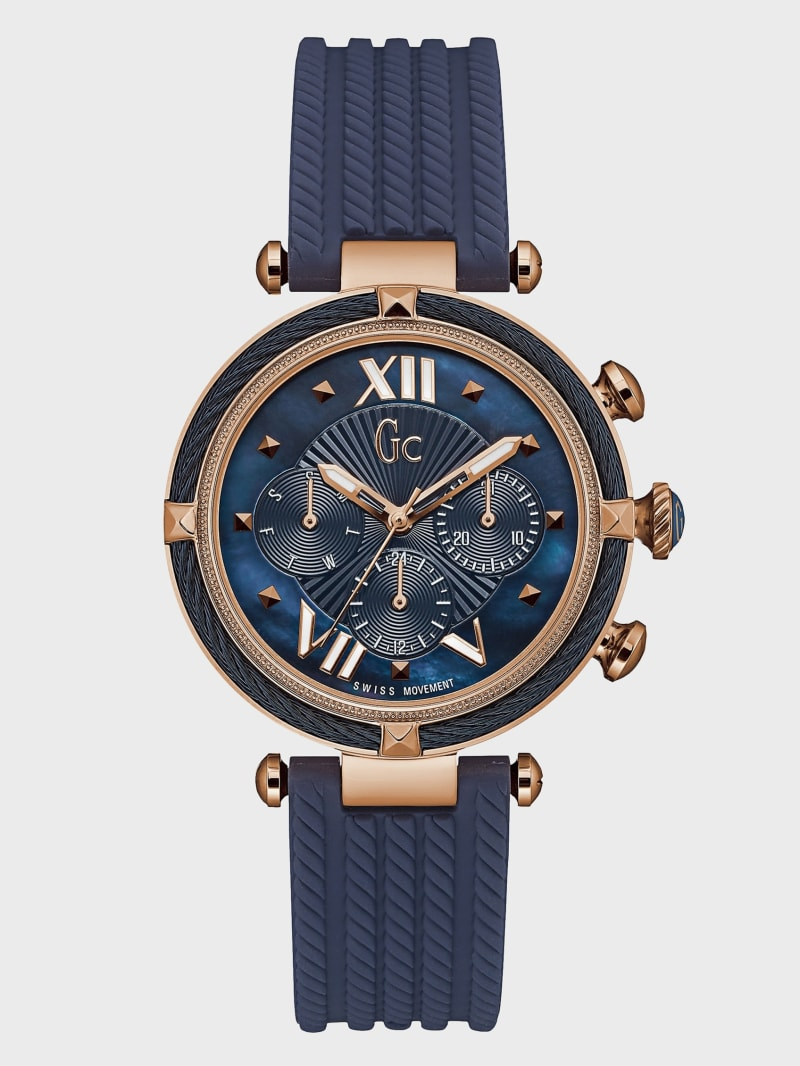 Rose Gold-Tone and Blue Multifunction Watch
