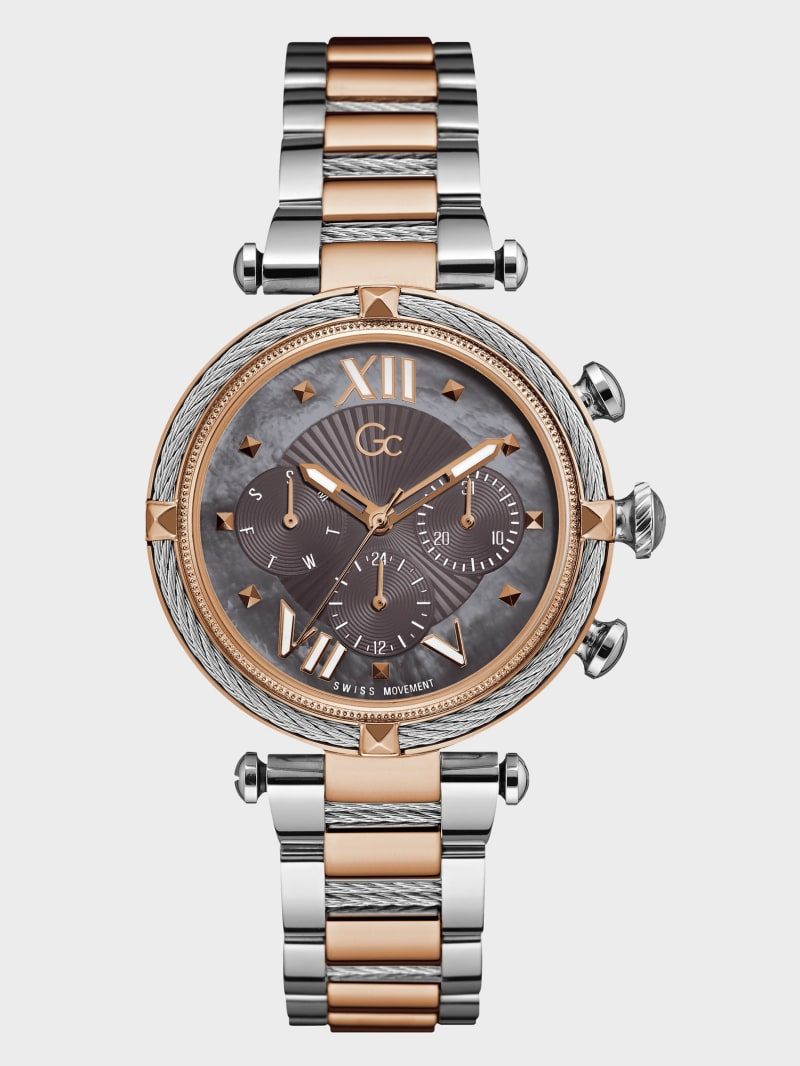 Gc Silver and Rose Gold-Tone Multi-Time Zone Watch