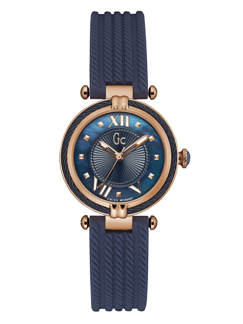 Rose Gold-Tone and Blue Cable Watch