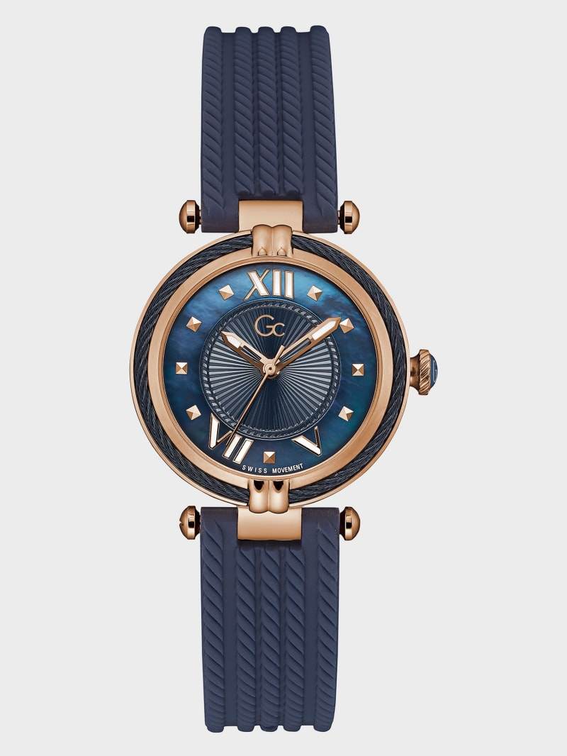 Gc Rose Gold-Tone and Navy Analog Watch
