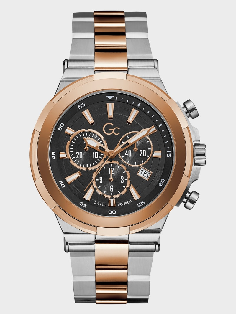 Gc Rose Gold and Silver-Tone Chronograph Watch