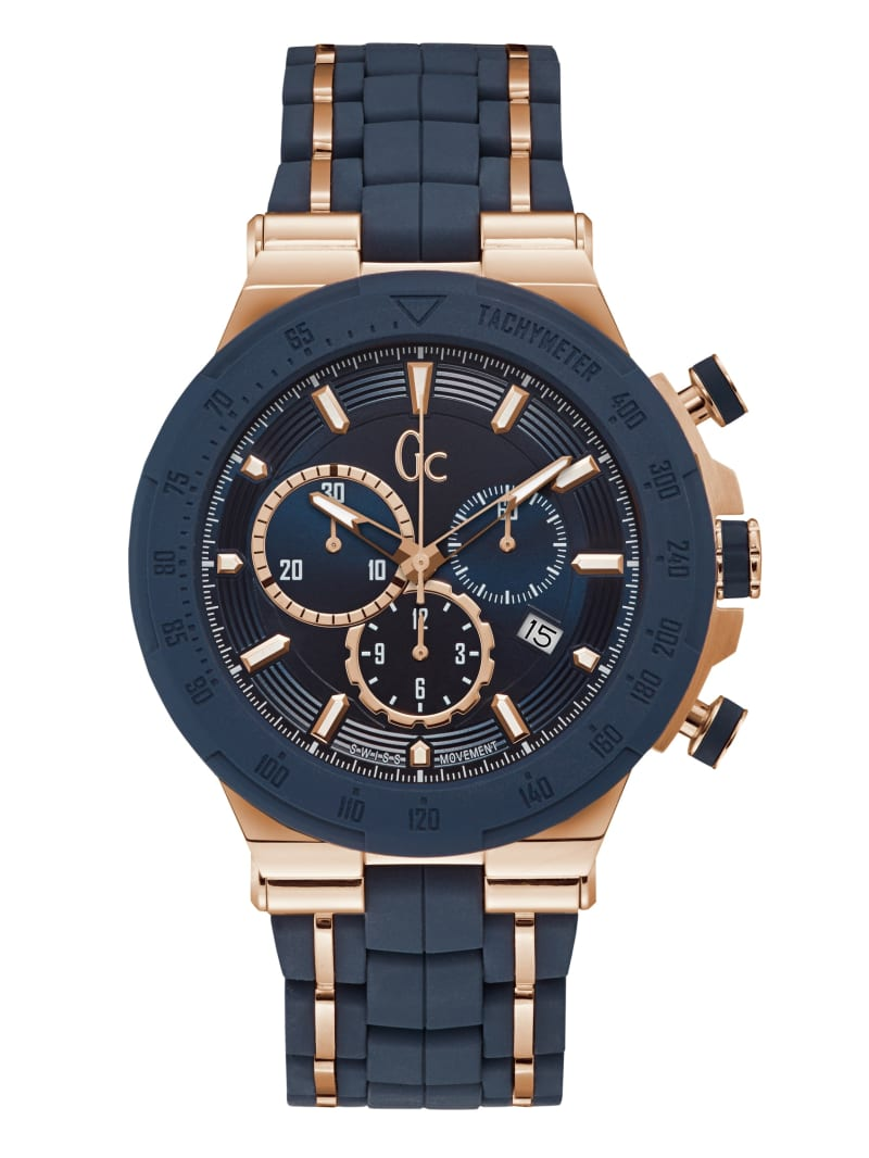 GUESS CONNECT Rose Gold-Tone and Navy Chronograph Watch