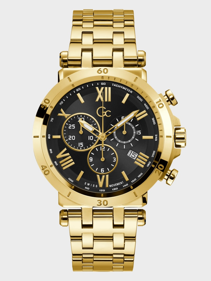 Gc Gold-Tone and Black Chronograph Watch