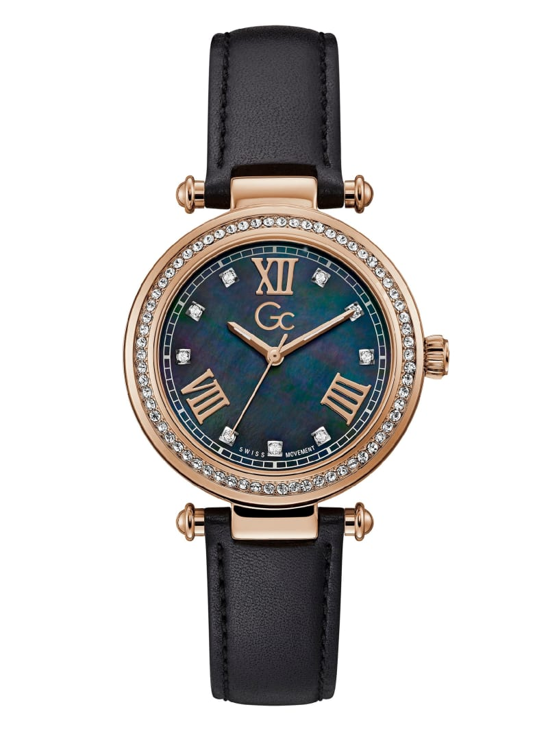 Gc Black and Rose Gold-Tone Rhinestone Watch