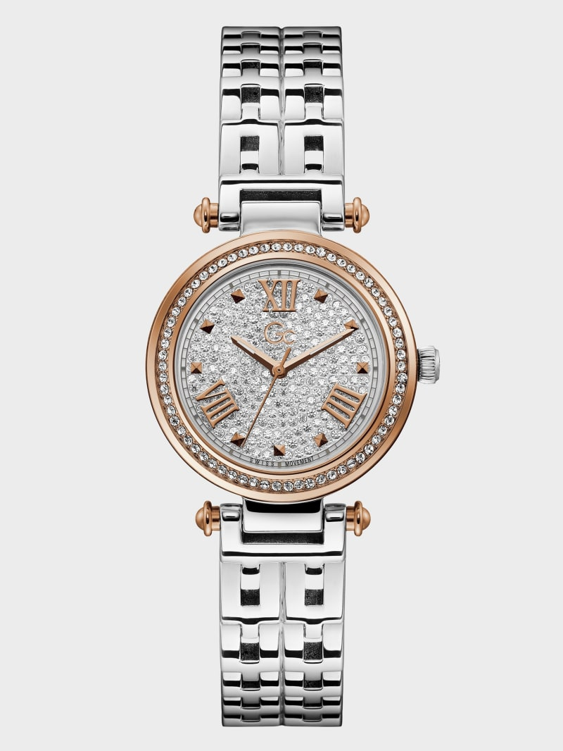 Gc Silver-Tone Crystal Analog Watch