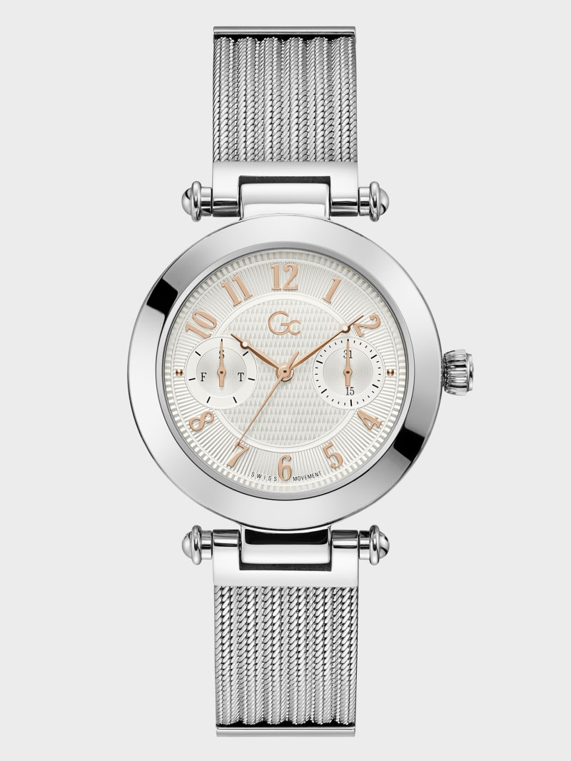 Gc Silver and Rose Gold-Tone Watch