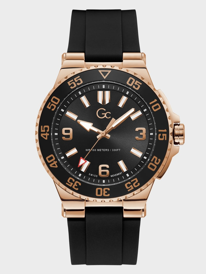 Gc Black and Rose Gold-Tone Watch