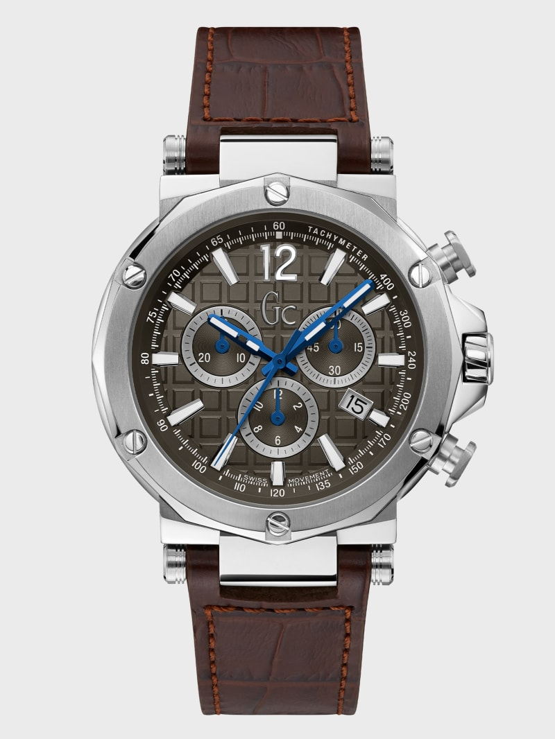 Gc Brown and Silver-Tone Chronograph Watch