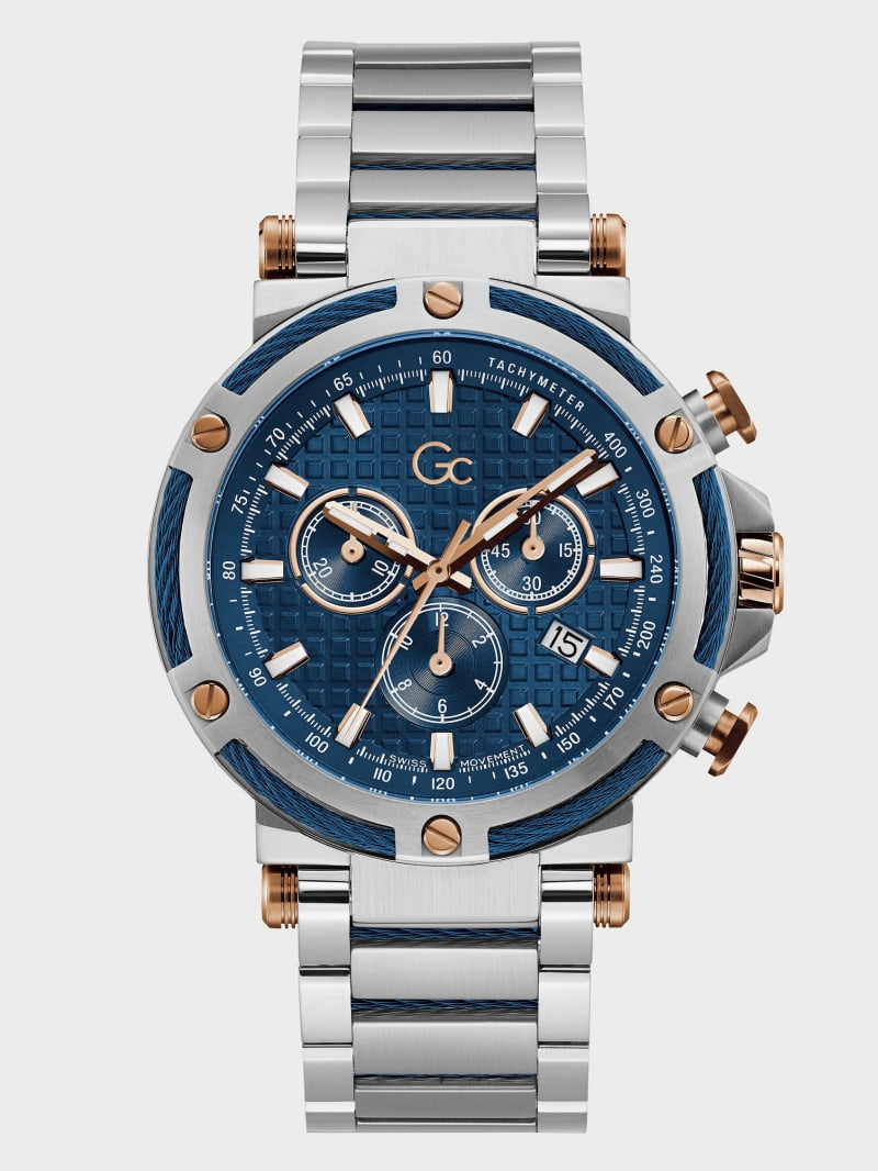 Gc Silver-Tone and Blue Chronograph Watch