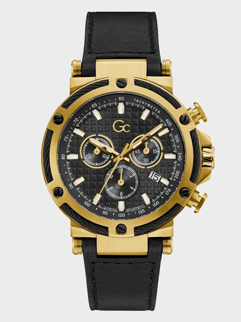 Gc Gold-Tone and Black Leather Chronograph Watch.