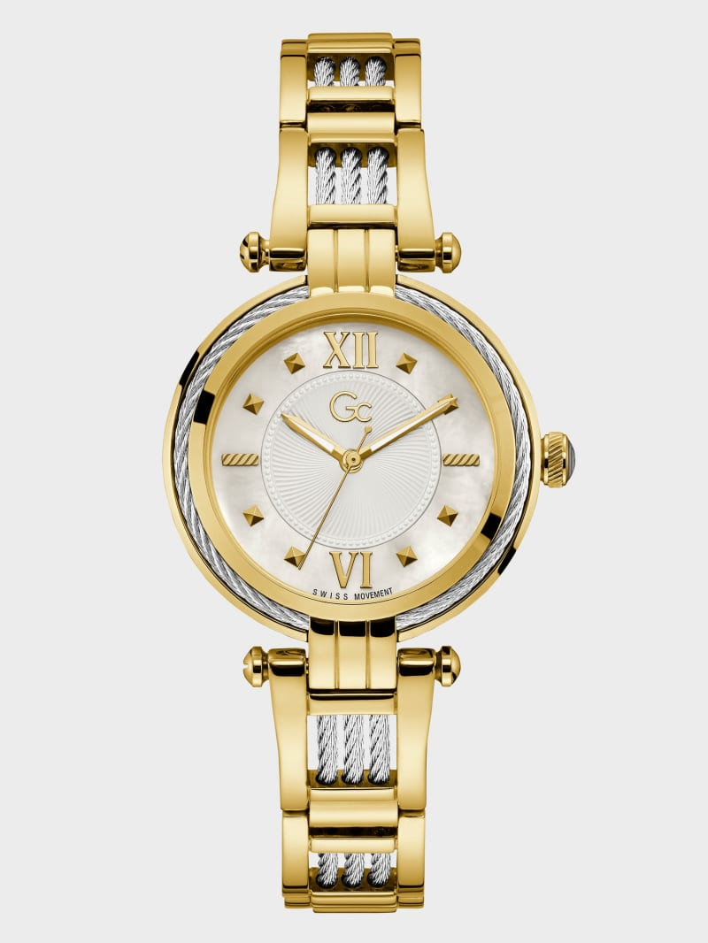 Gc Gold-Tone Cable Twist Analog Watch
