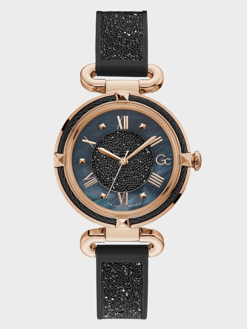 Gc Black and Rose Gold-Tone Crystal Analog Watch