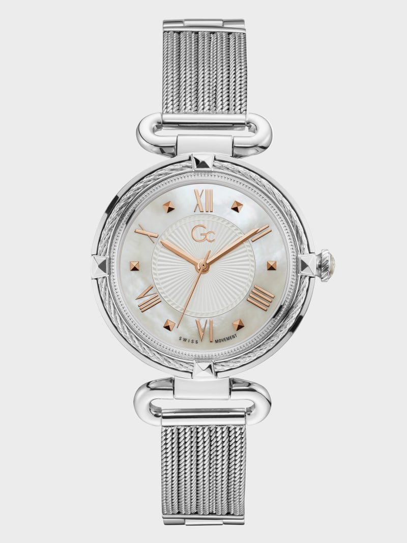 Gc Silver-Tone Cable Watch