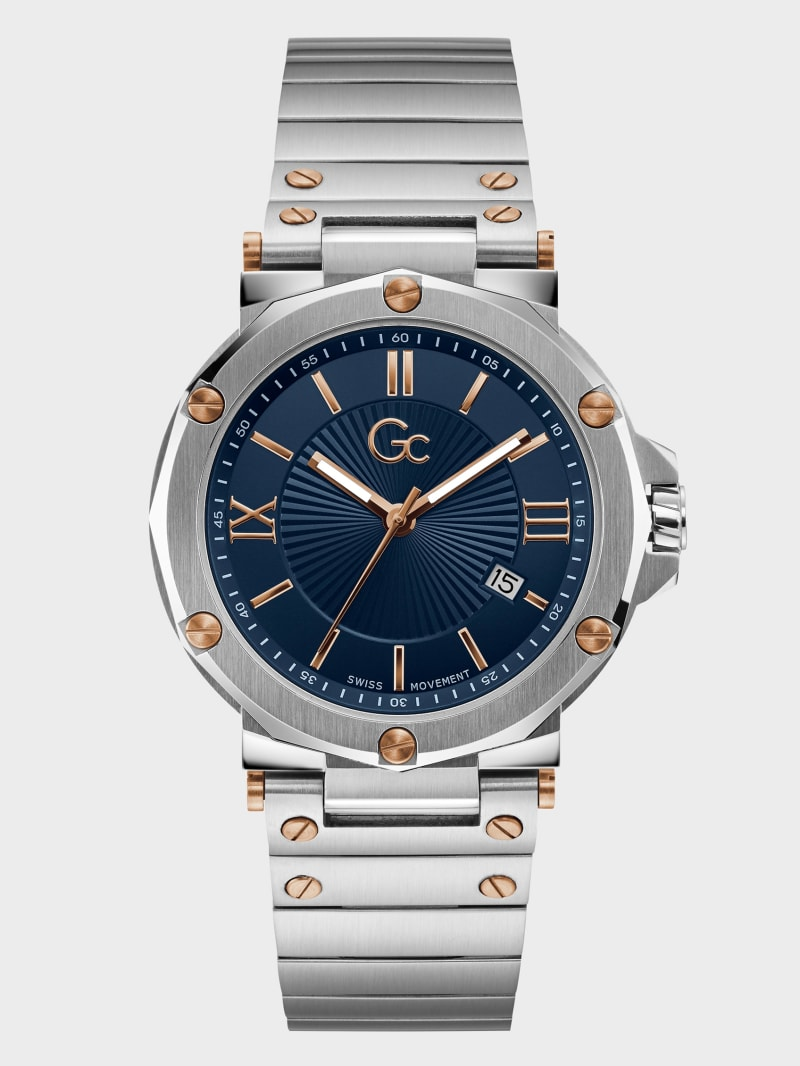 Gc Silver-Tone Date Analog Watch