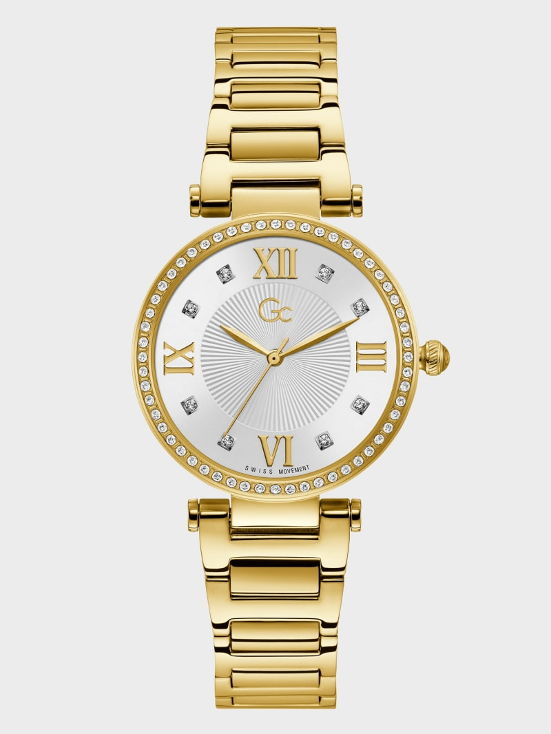 Gc Gold-Tone Crystal Analog Watch