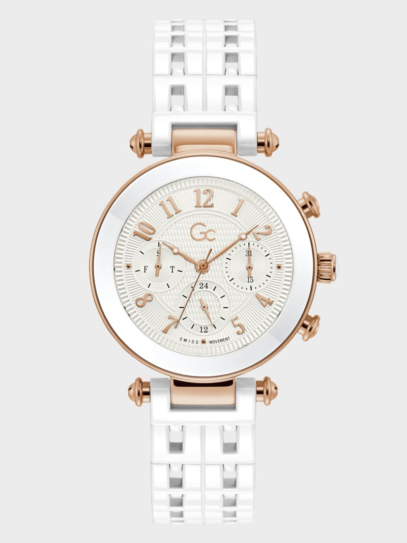 Gc Rose Gold-Tone and White Multifunction Watch