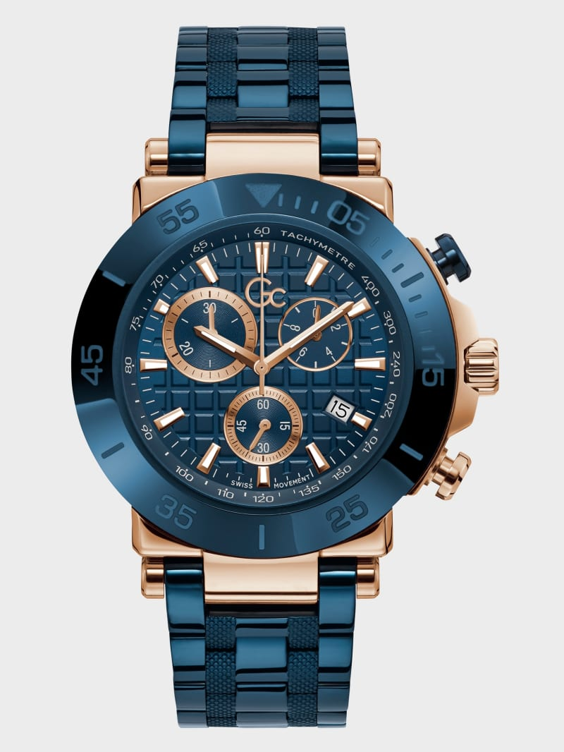Gc Blue and Gold-Tone Chronograph Watch