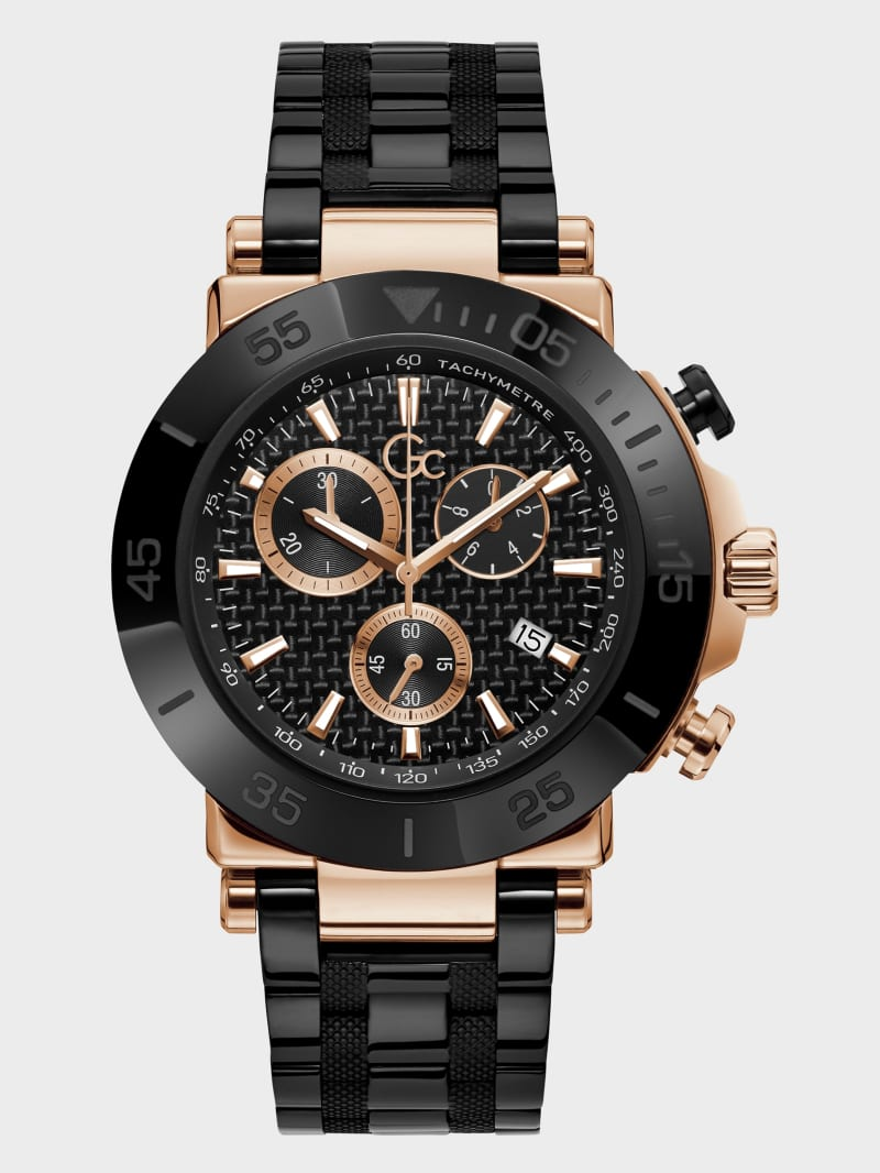 Gc Black and Rose Gold-Tone Chronograph Watch