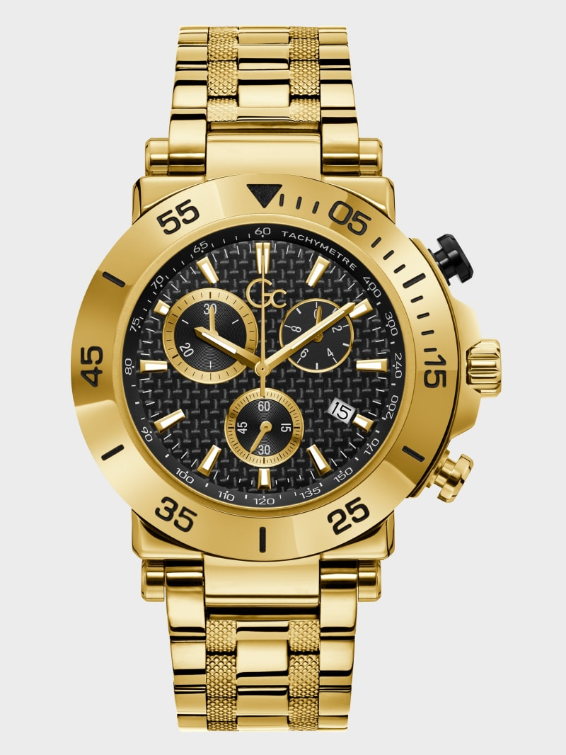 Gc Gold-Tone and Black Grid Chronograph Watch