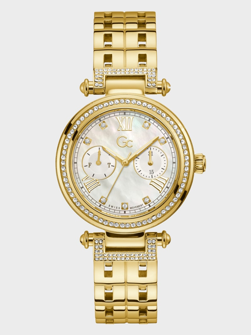 Gc Gold-Tone Crystal Day/Date Watch