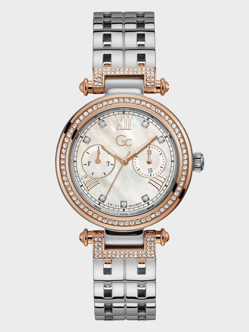 Gc Silver-Tone Crystal Day/Date Watch