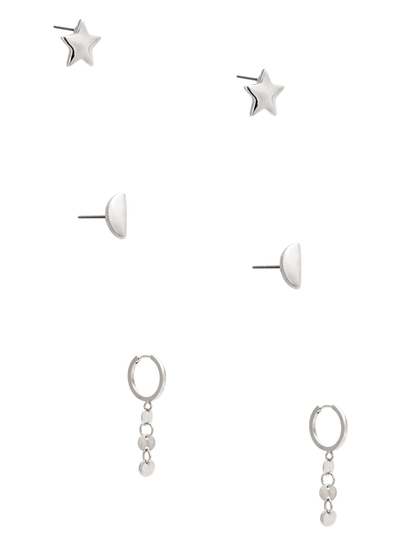 Silver-Tone Hoop And Stud Earrings Set